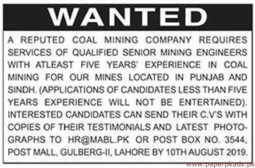 Reputed Coal Mining Company Jobs 2019 Latest