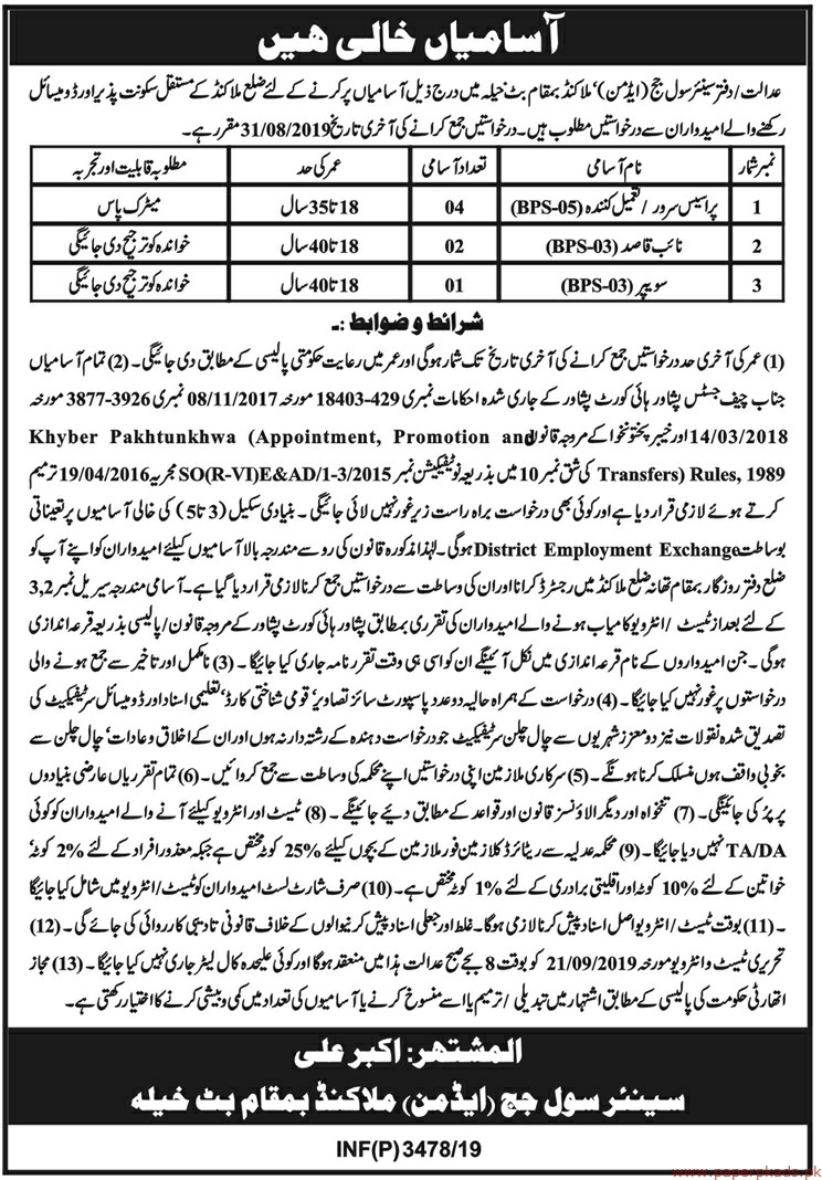 Senior Civil Judge Malakand Jobs 2019 Latest