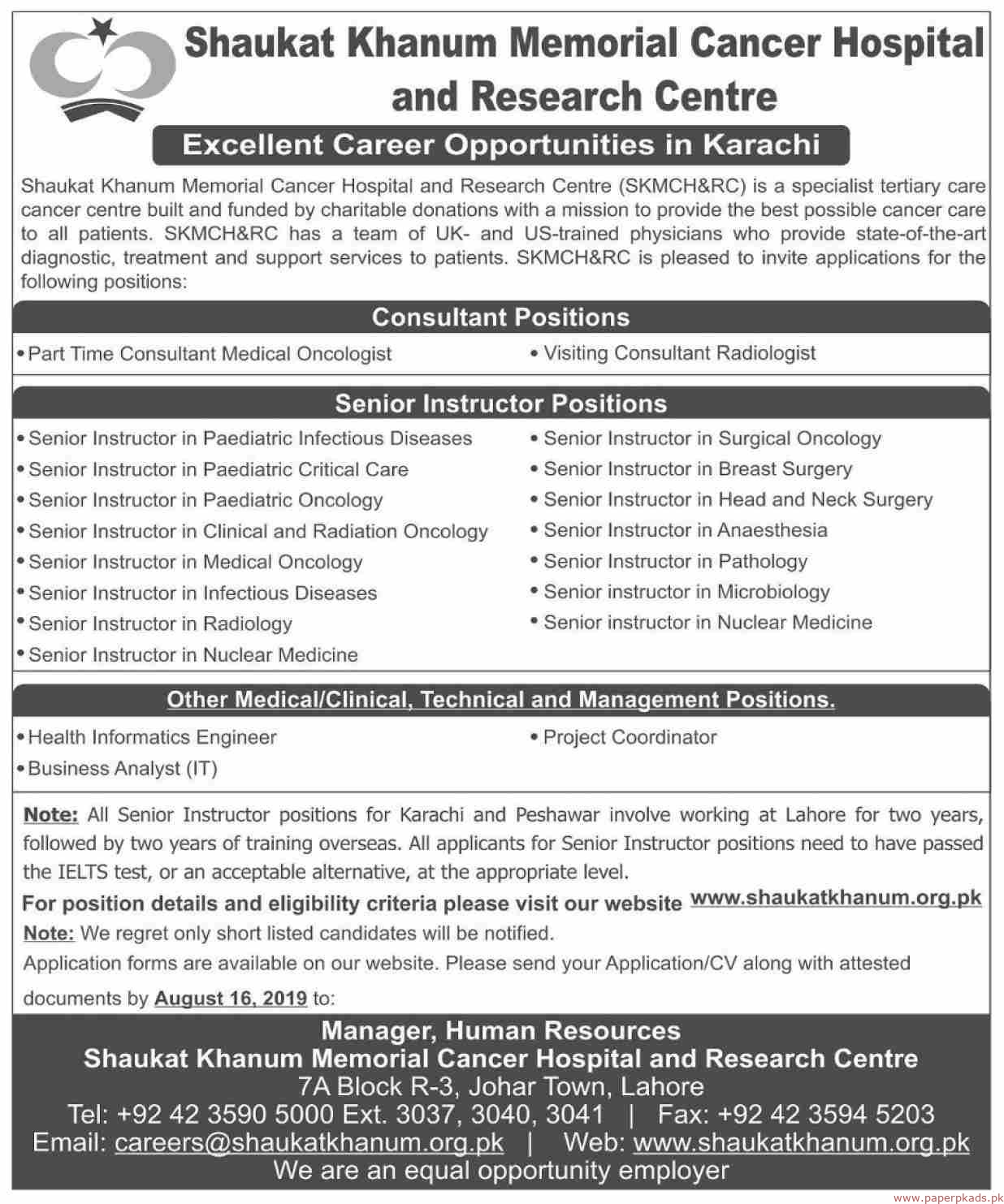 Shaukat Khanum Memorial cancer Hospital and Research Centre Jobs 2019 Latest