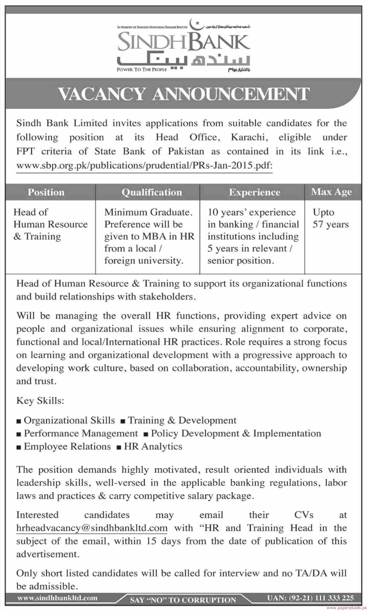 Sindh bank Jobs 2019 Latest
