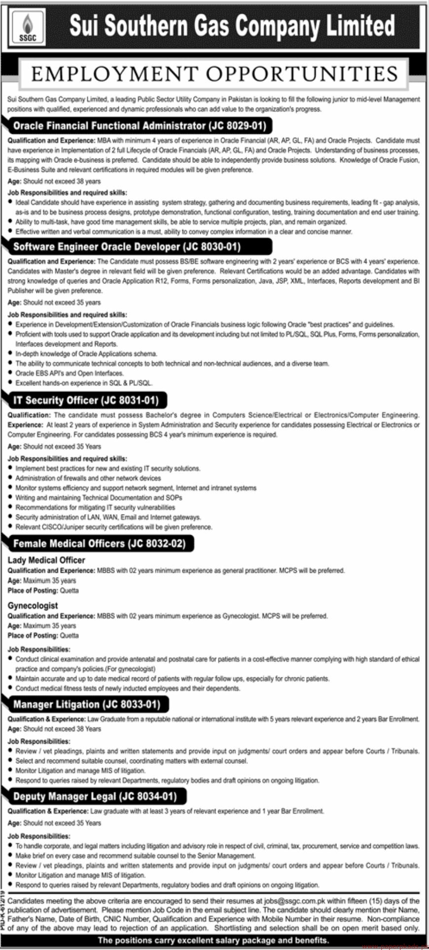 Sui Southern Gas Company Limited SSGC Jobs 2019 Latest
