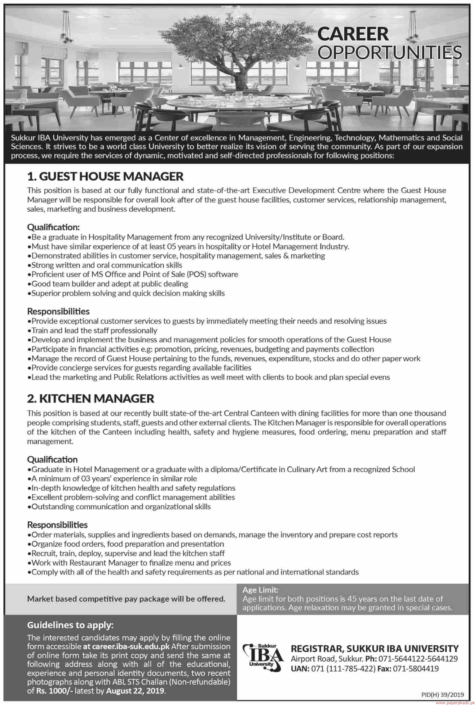 Sukkur IBA University Jobs 2019 Latest