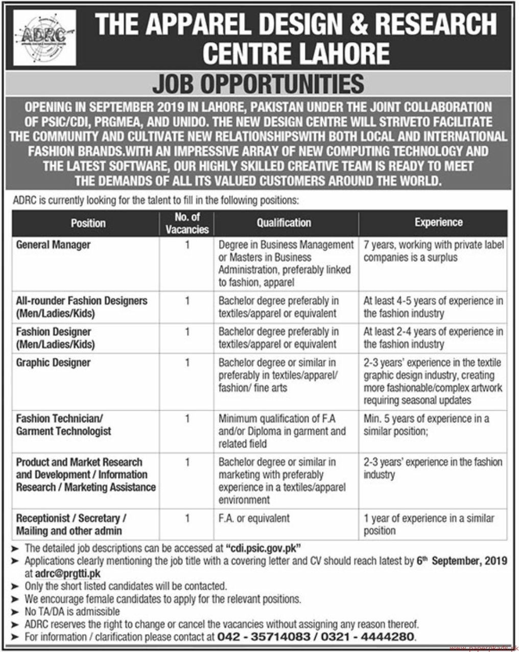 Latest Jobs In The Apparel Design Research Centre Lahore Vulearning Jobs