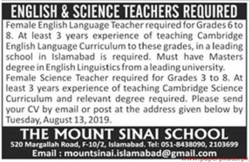 The Mount Sinai School Jobs 2019 Latest