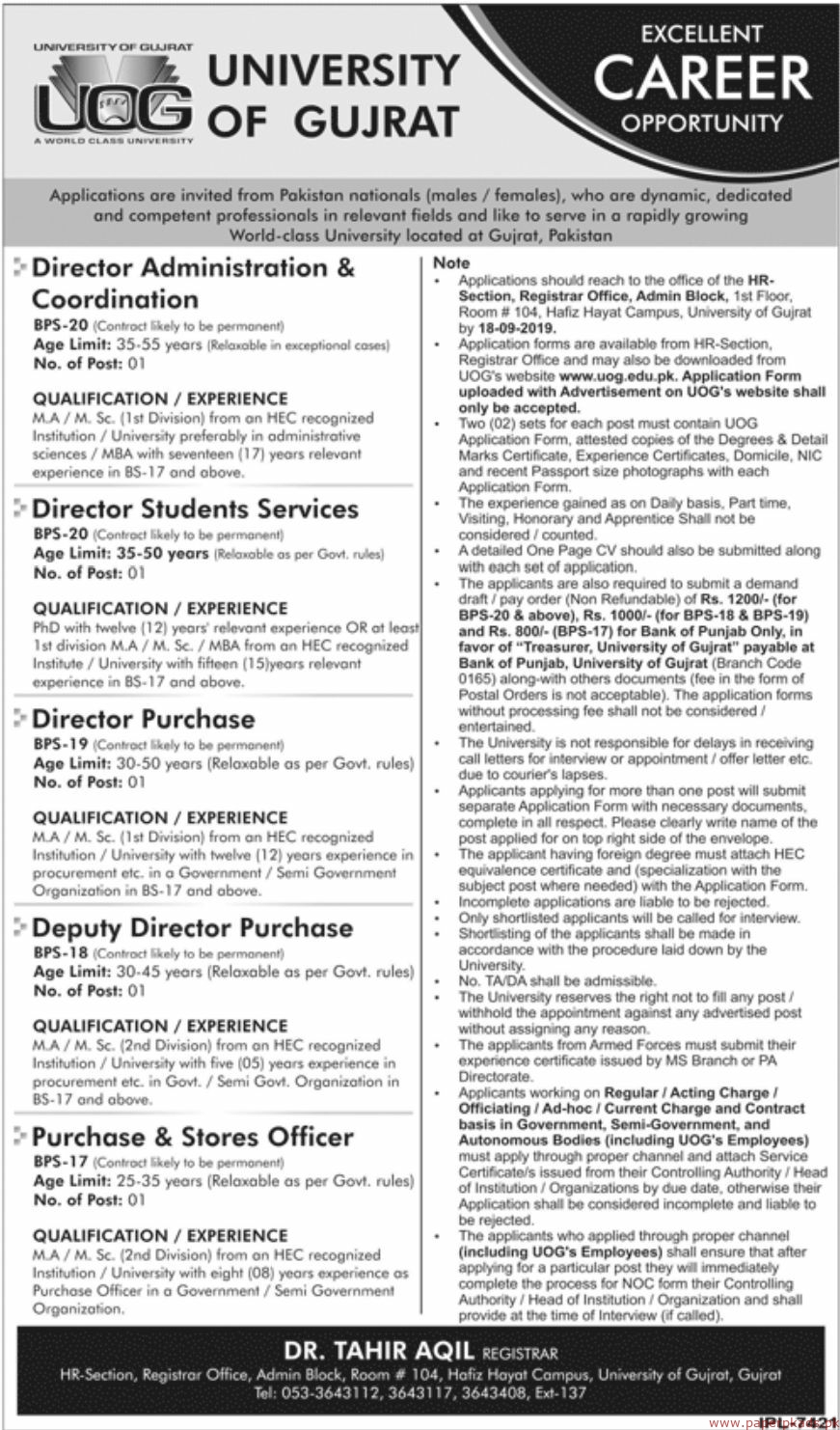 University of Gujrat Latest Jobs 2019