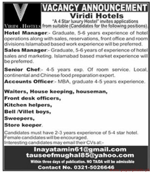 Viridi Hotels Jobs 2019 Latest