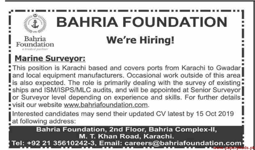 Bahria Foundation Jobs 2019 Latest