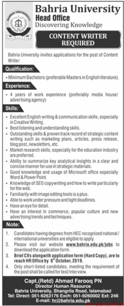 Bahria University Jobs 2019 Latest