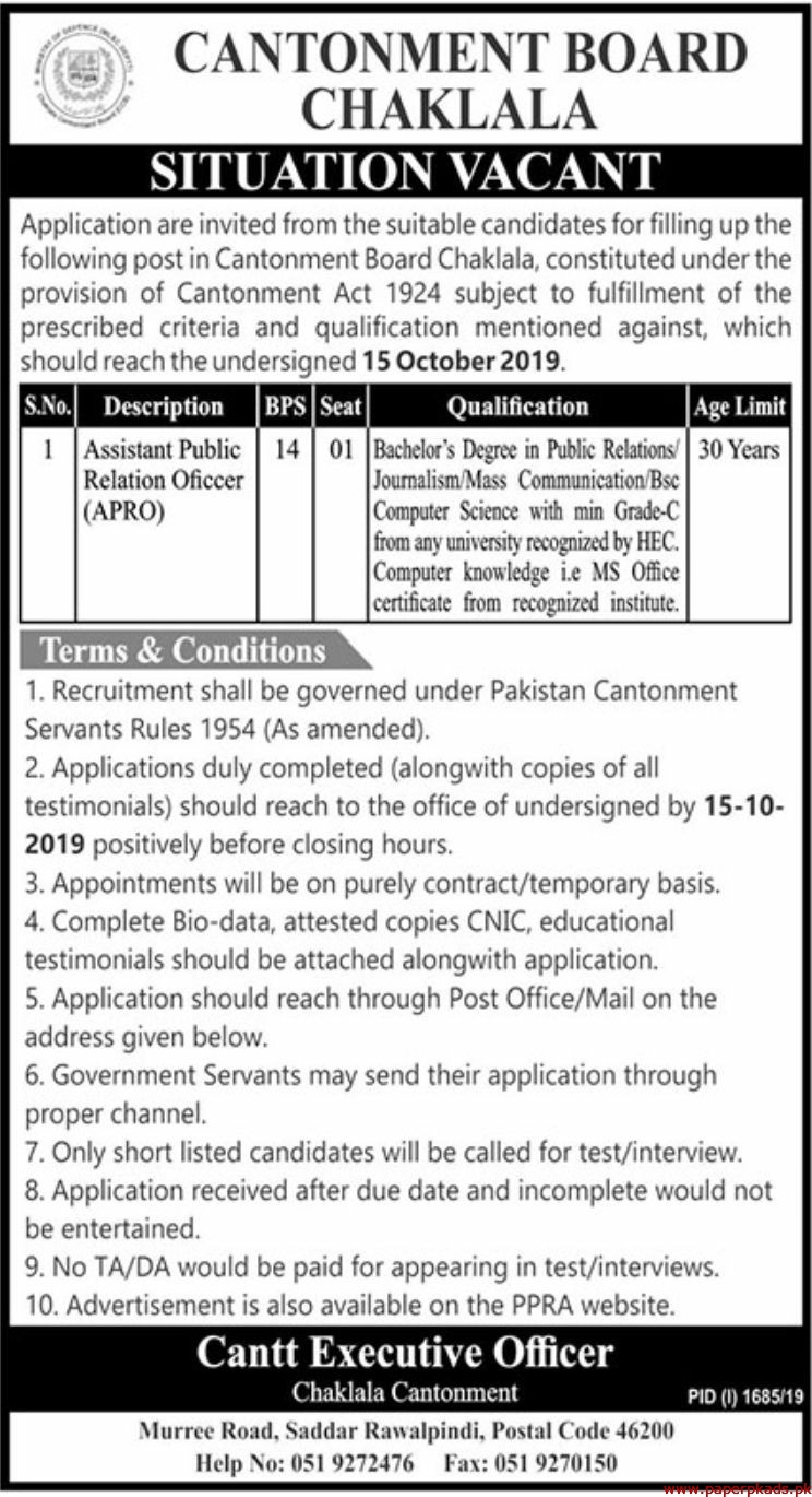 Cantonment Board Chaklala Jobs 2019 Latest