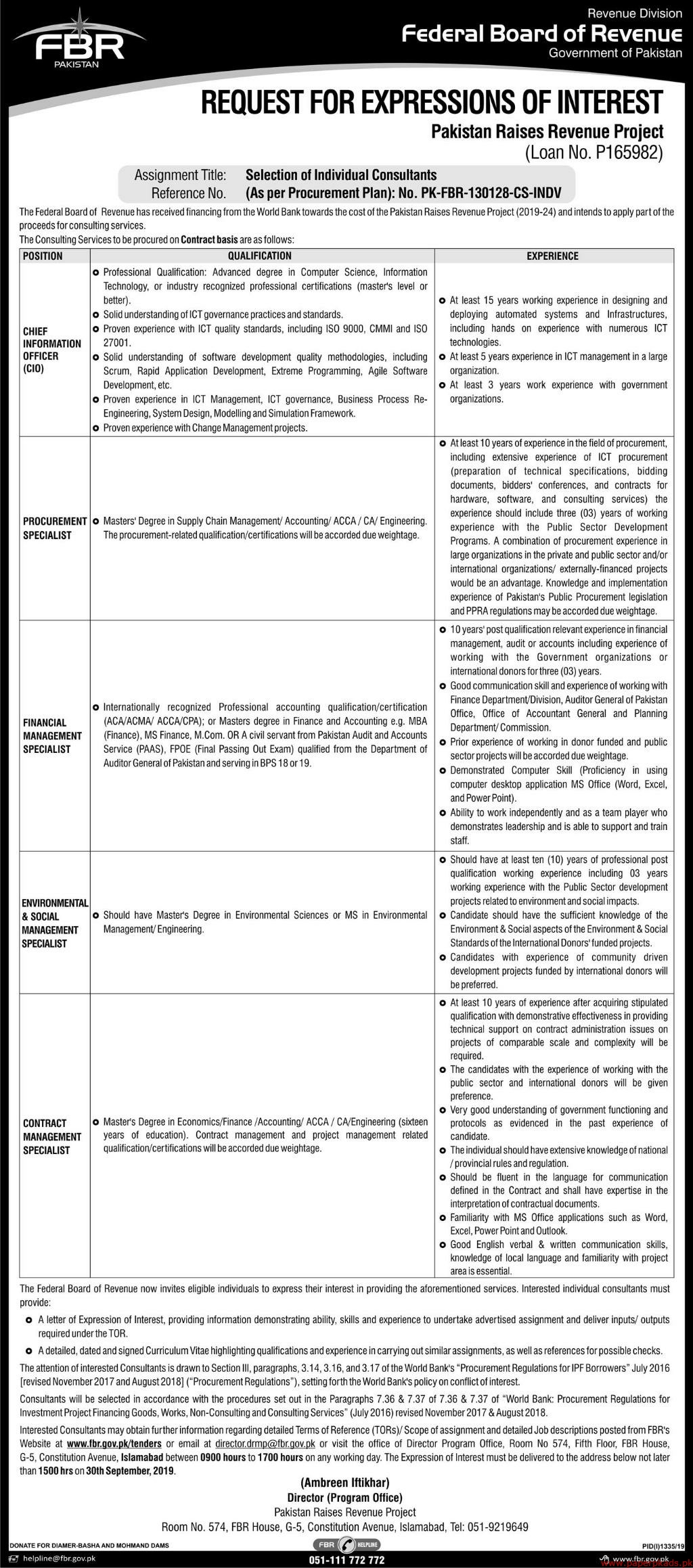 FBR Pakistan Jobs 2019 Latest