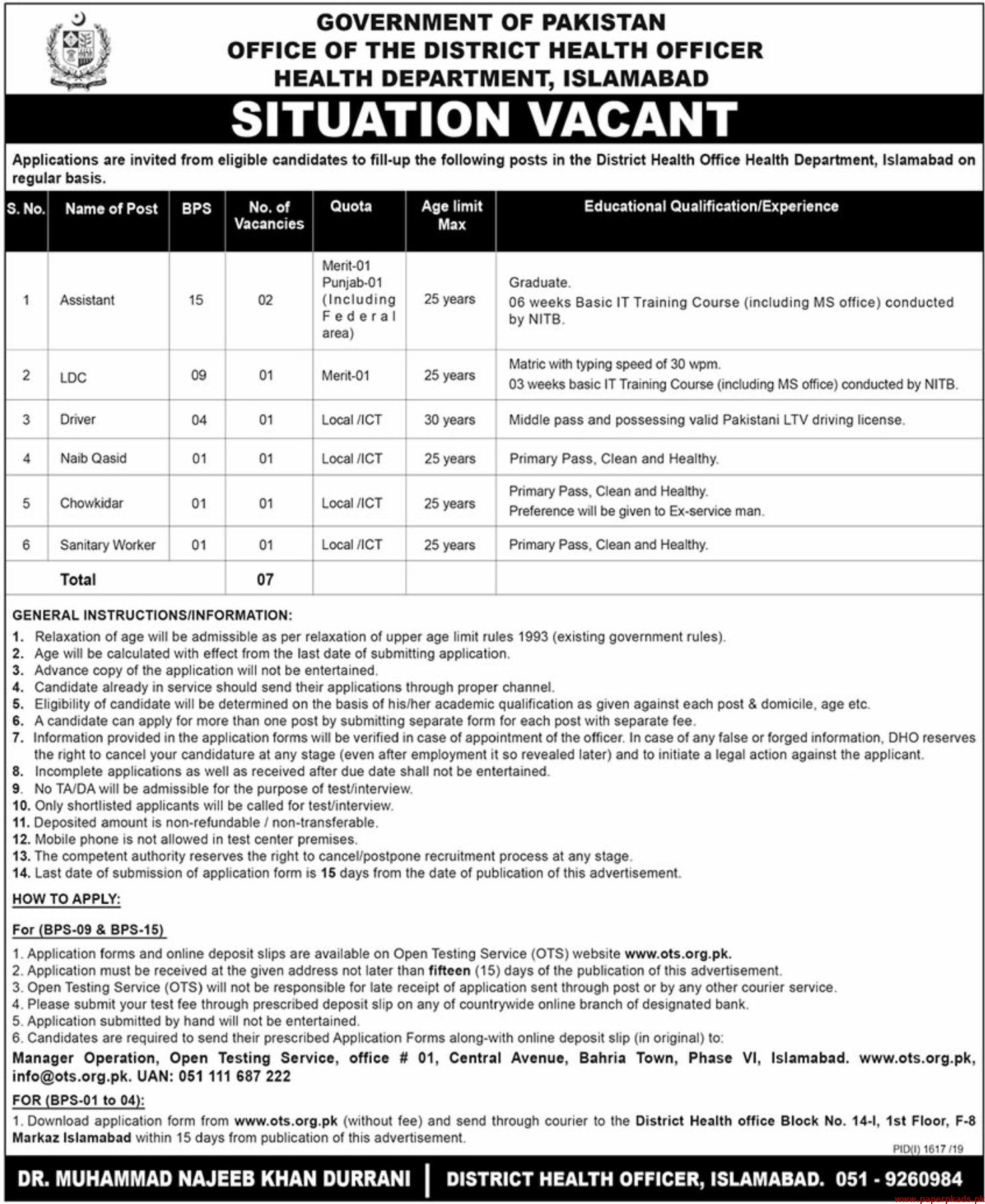Government of Pakistan Health Department Jobs 2019 Latest