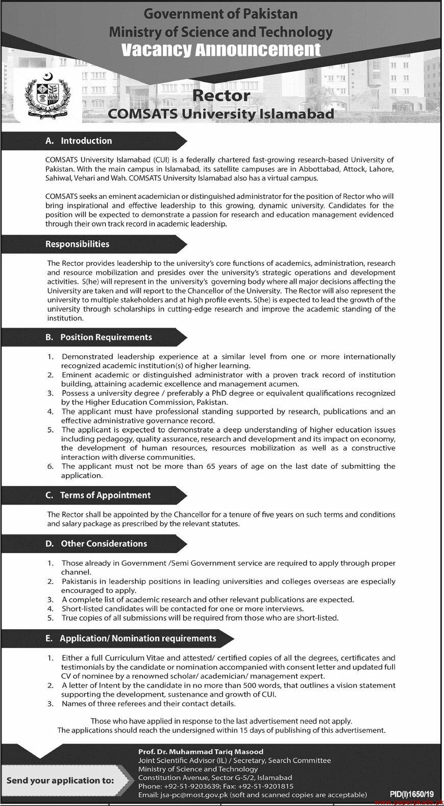 Government of Pakistan Ministry of Science and Technology Jobs 2019 Latest