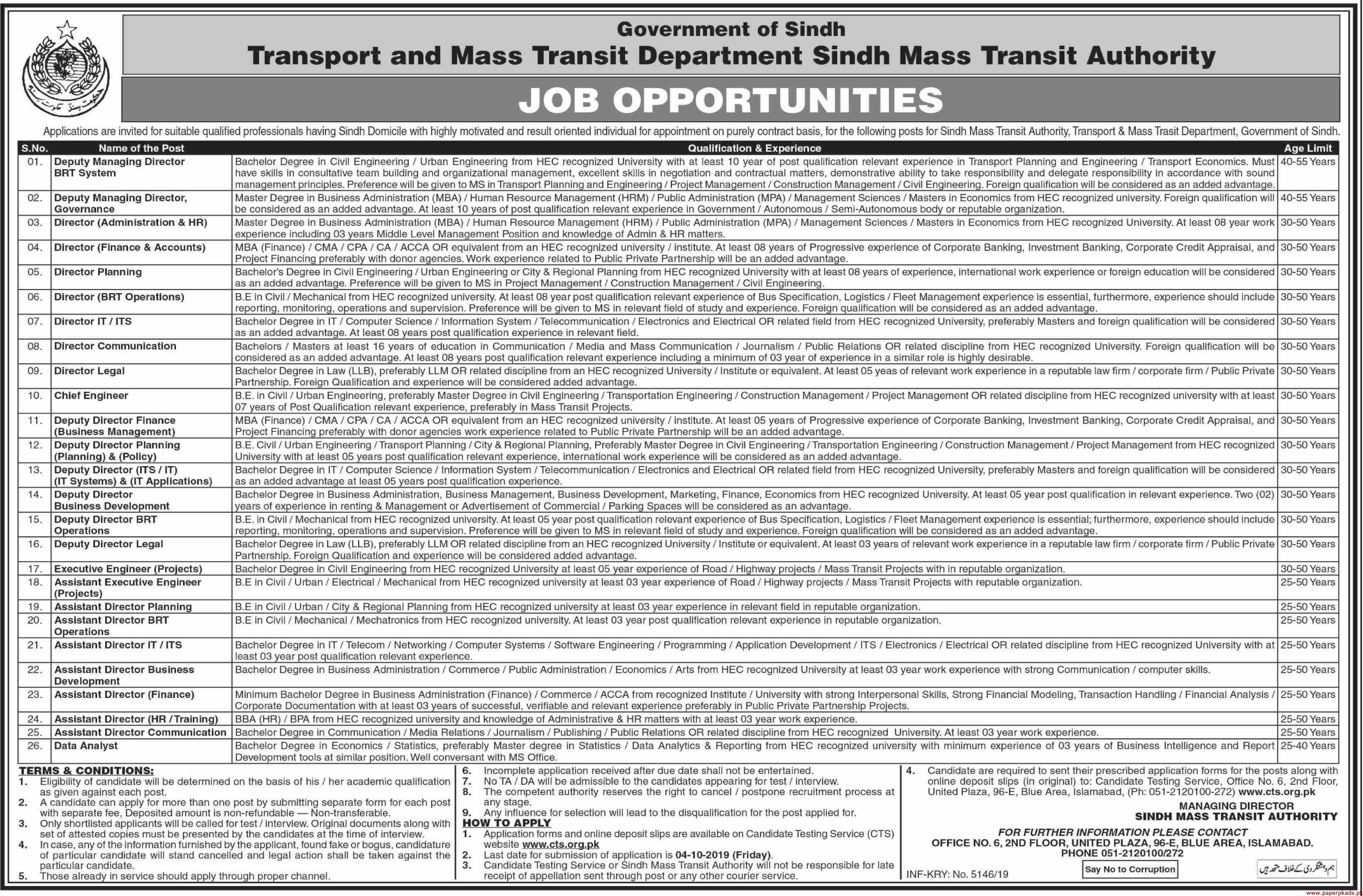 Government of Sindh Transport and Mass Transit Department Jobs 2019 Latest