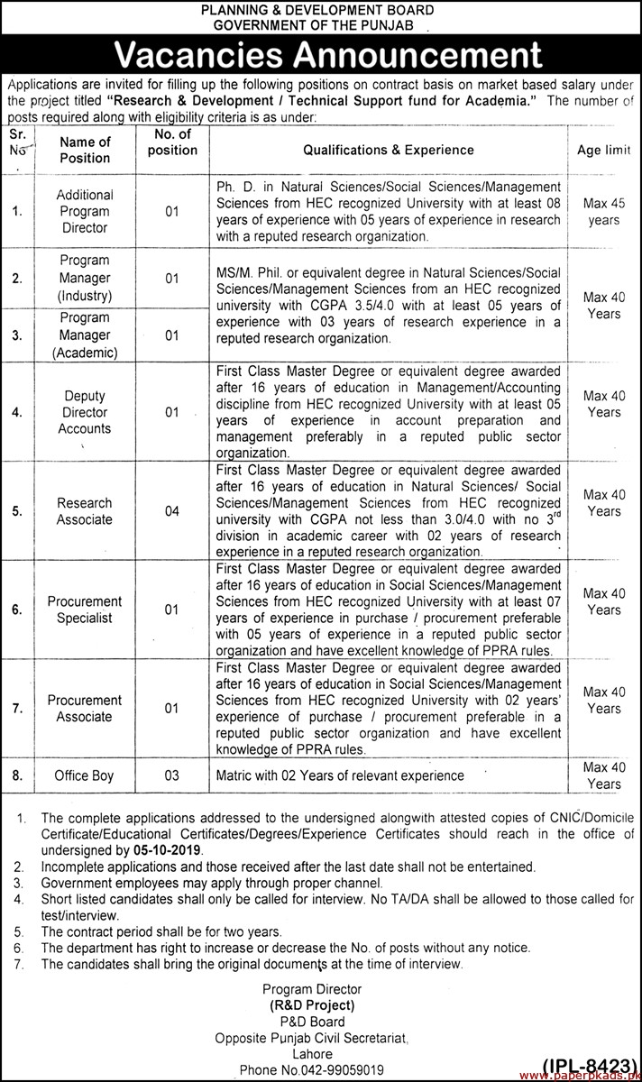 Government of the Punjab Planning & Development Board Jobs 2019 Latest