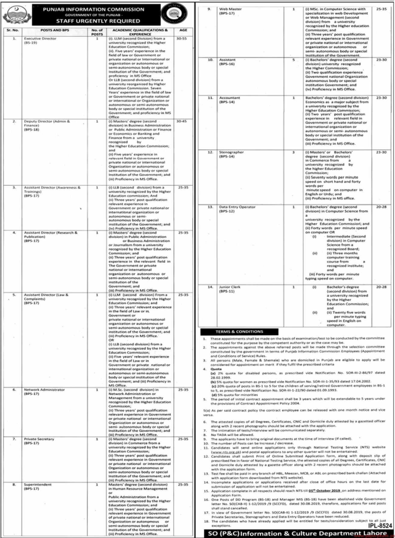 Government of the Punjab - Punjab Information Commission PIC Jobs 2019 Latest