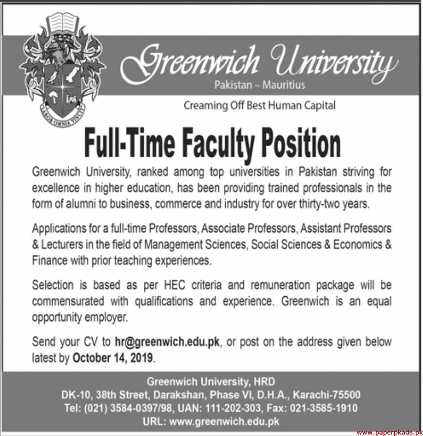 Greenwich University Jobs 2019 Latest