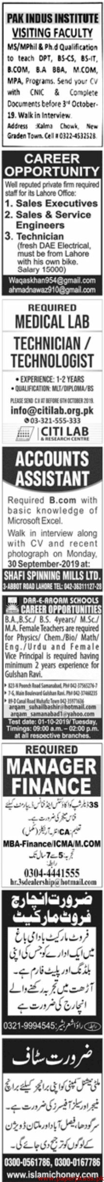 Jang Newspaper Latest Jobs 29 September 2019