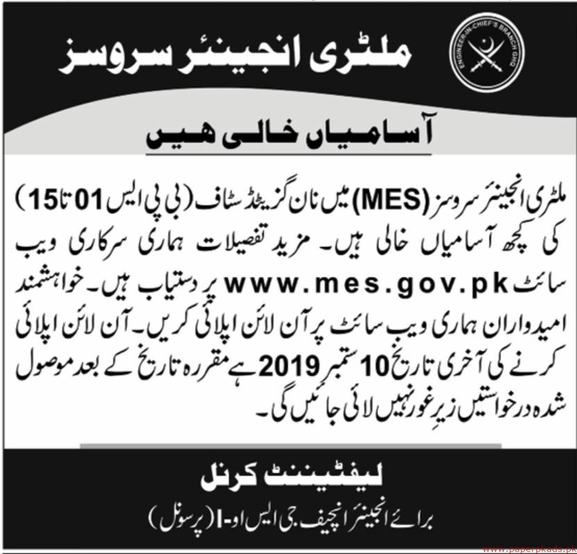 Military Engineering Services (MES) Jobs 2019 Latest