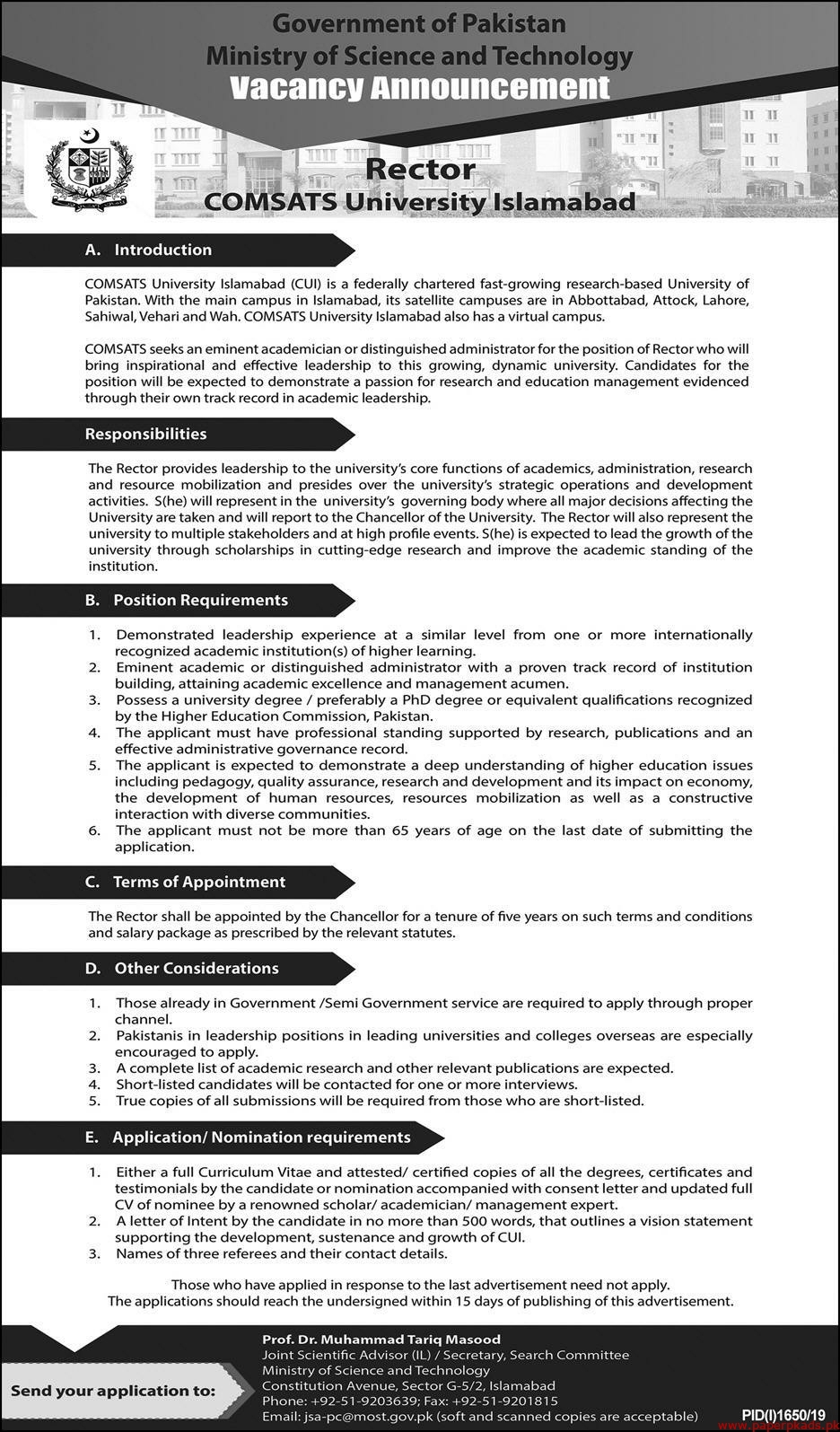 Ministry of Science and Technology Jobs 2019 Latest