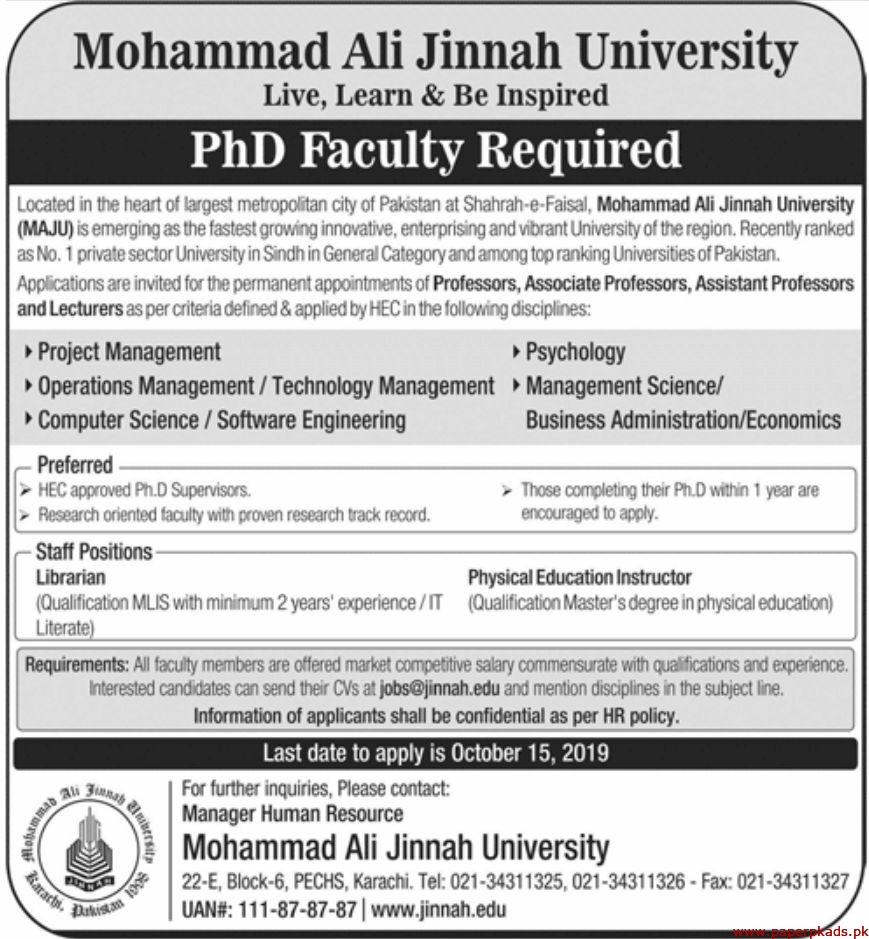 Mohammad Ali Jinnah University Jobs 2019 Latest