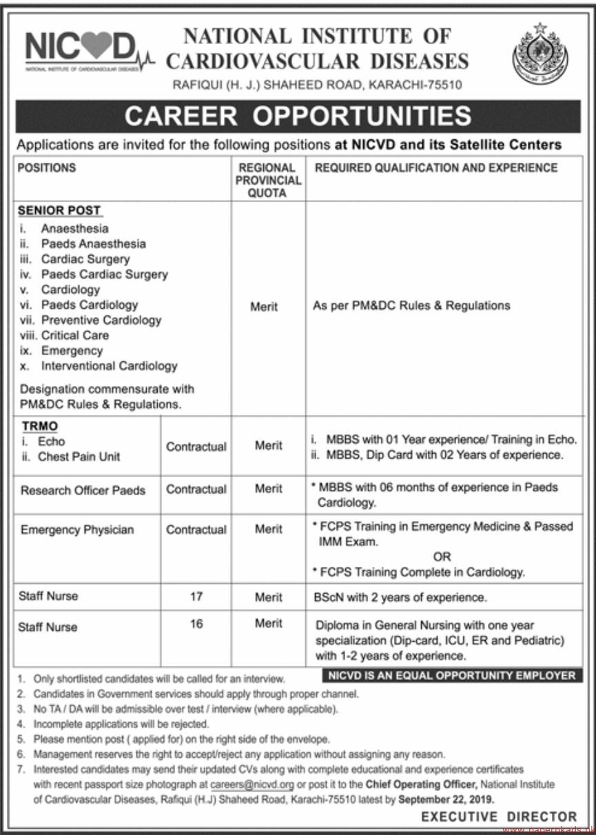 National Institute of Cardiovascular Diseases NICVD Jobs 2019 Latest