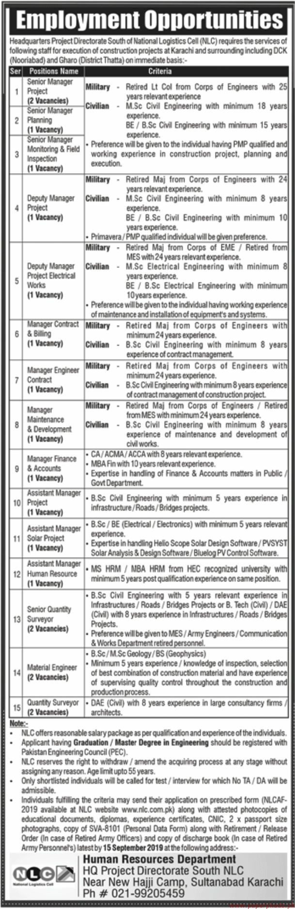National logistic Cell Jobs 2019 Latest