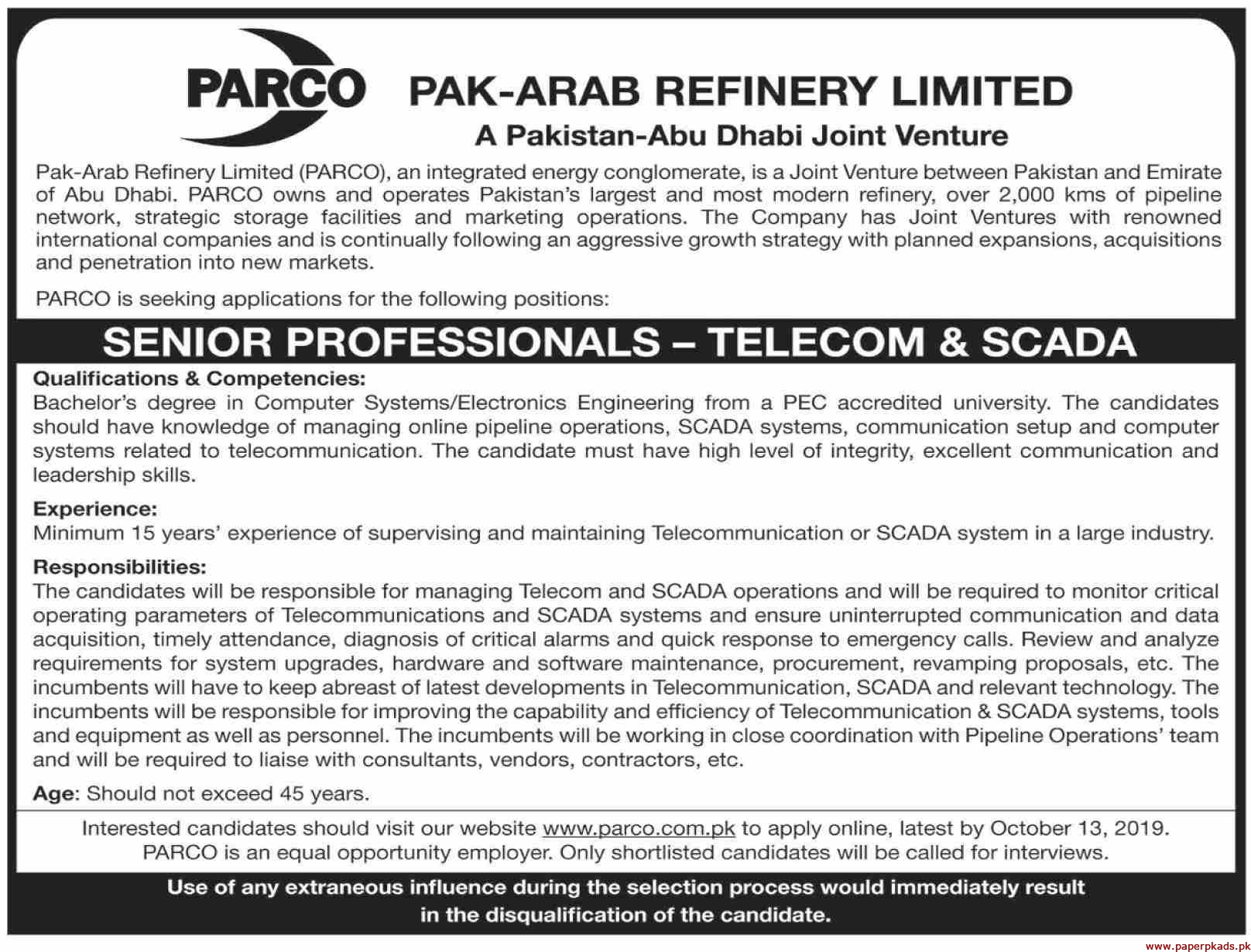 Pak-Arab Refinery Limited PARCO Jobs 2019 Latest
