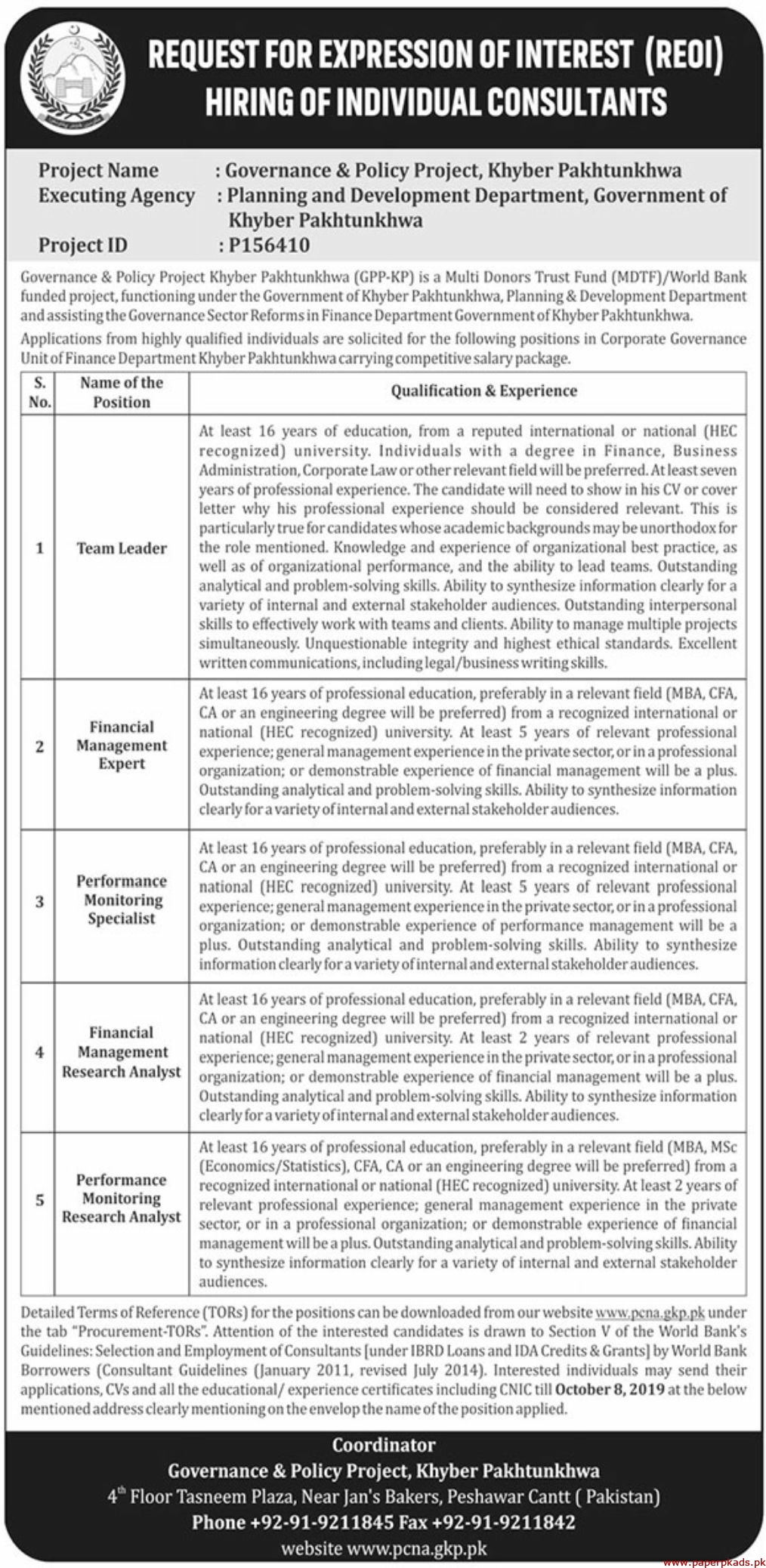 Planning and Development Department Government of Khyber Pakhtunkhwa Jobs 2019 Latest