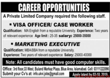 Private Limited Company Jobs 2019 Latest