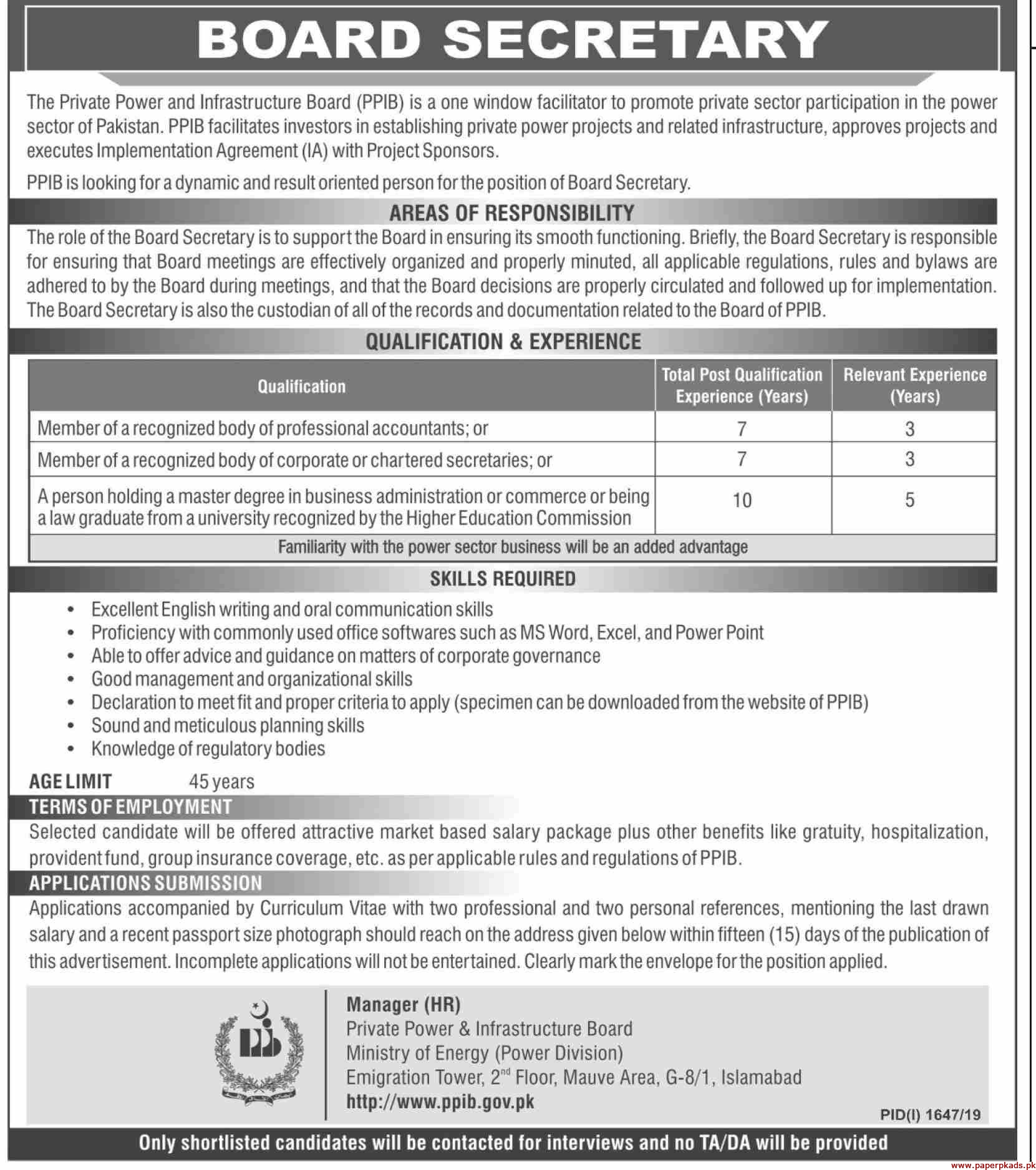 Private Power and Infrastructure Board PPIB Jobs 2019 Latest