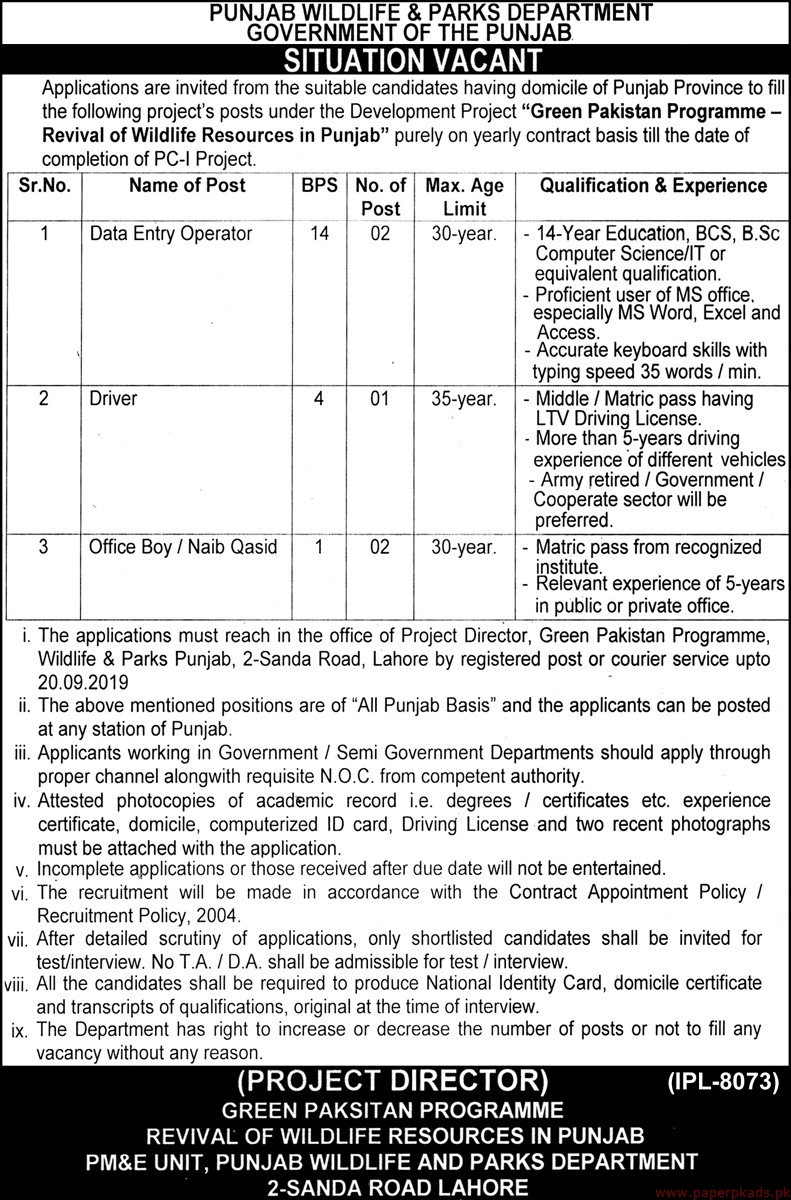 Punjab Wildlife & Parks Department Government of the Punjab Jobs 2019 Latest