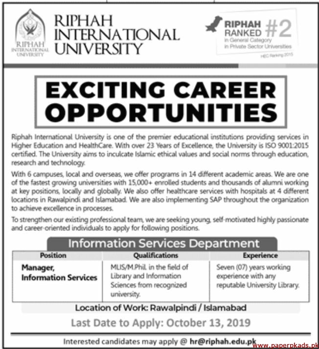 RIPHAH International University Jobs 2019 Latest