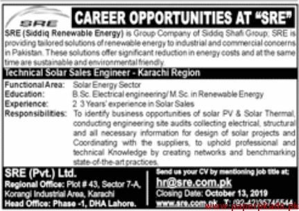 SRE Pvt Ltd Jobs 2019 Latest
