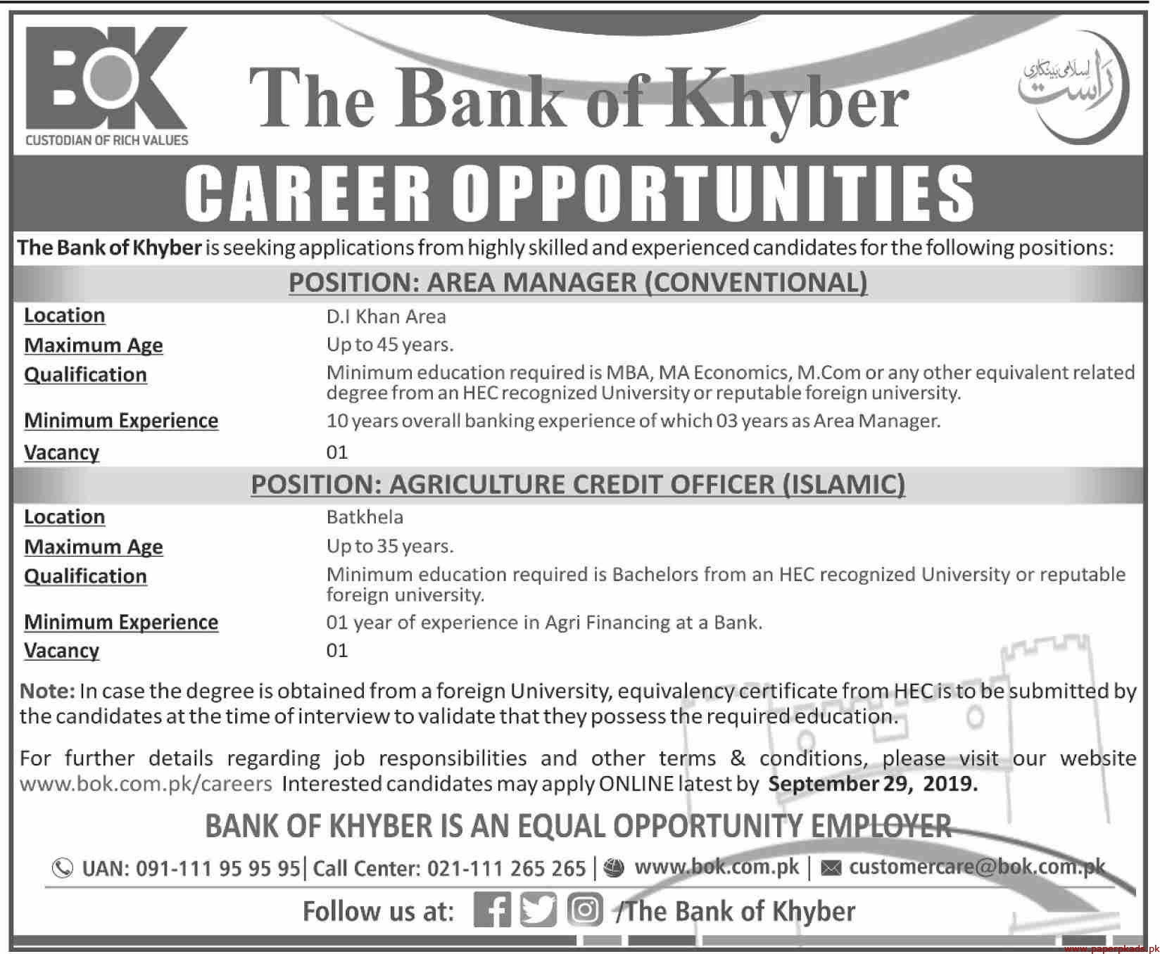 The Bank of Khyber BOK Jobs 2019 Latest