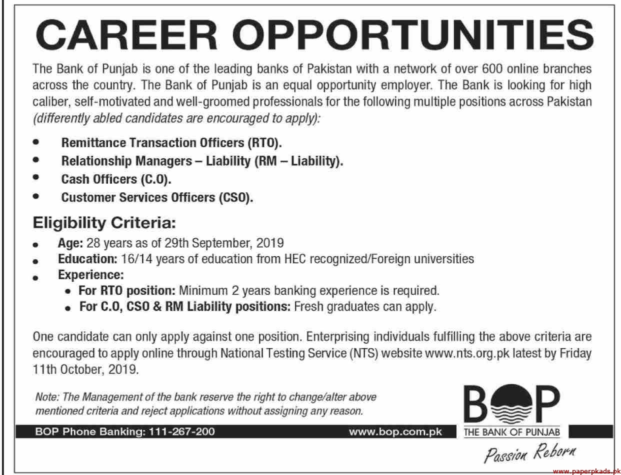 The Bank of Punjab BOP Jobs 2019 Latest