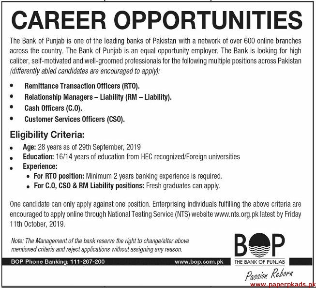 The Bank of Punjab Jobs 2019 Latest