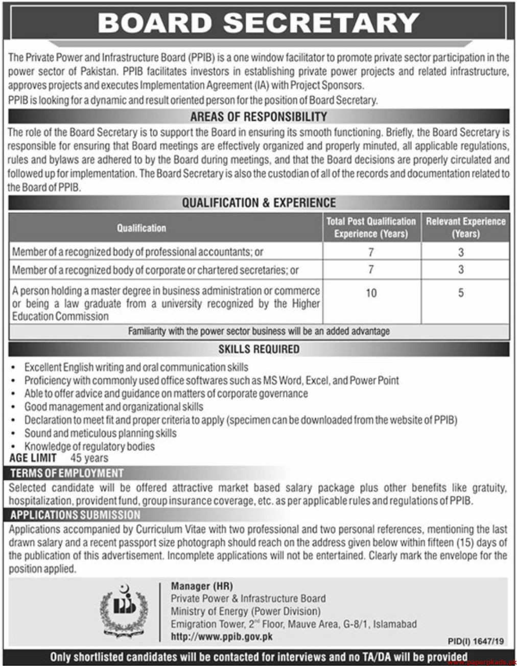 The Private Power and Infrastructure Board PPIB Jobs 2019 Latest