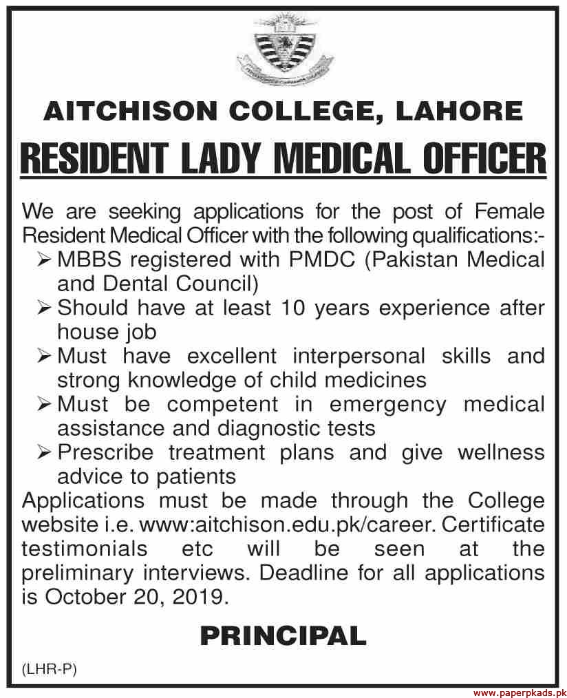 AITCHISON College Lahore Jobs 2019 Latest