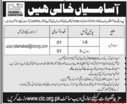 Chip Training and Consulting Private Limited Jobs 2019 Latest
