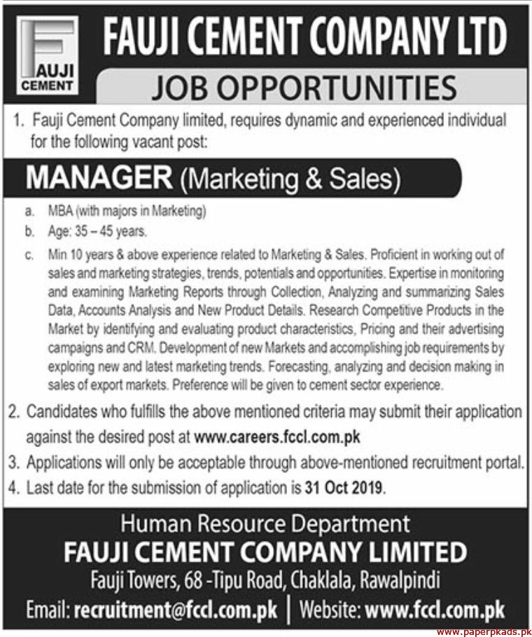 Fauji Cement Company Limited Jobs 2019 Latest