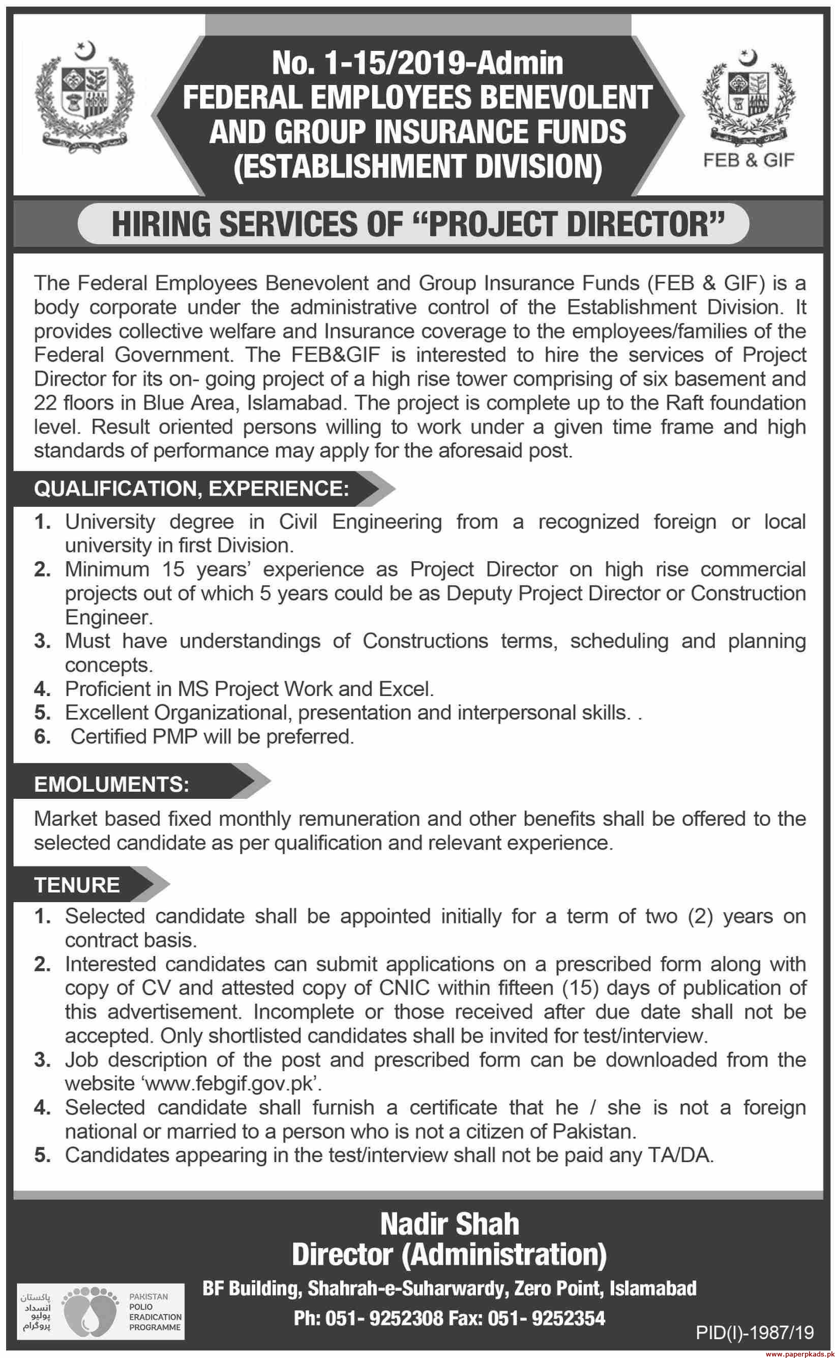 Federal Employees Benevolent and Group Insurance Funds Jobs 2019 Latest