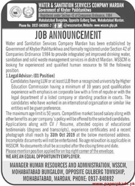 Government of Khyber Pakhtunkhwa Water & Sanitation Services Company Mardan Jobs 2019 Latest