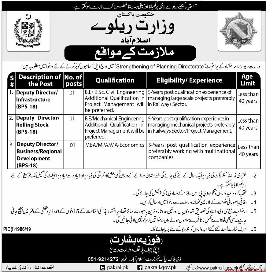 Government of Pakistan Ministry of Railways Jobs Latest 2019