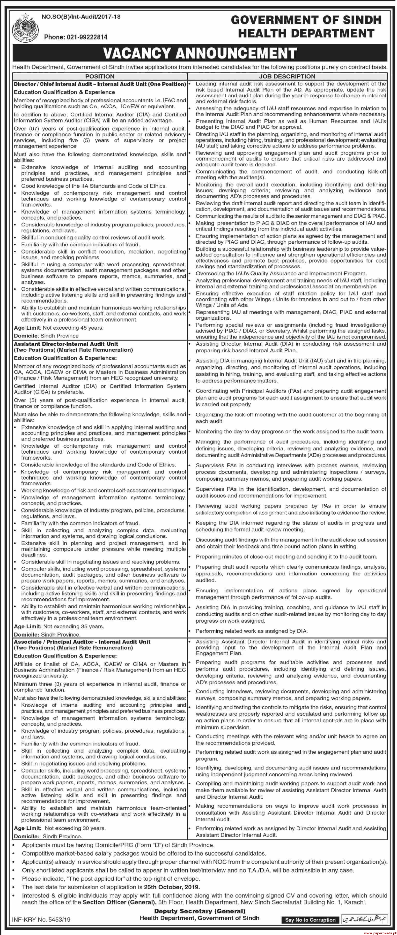 Government of Sindh Health Department Jobs 2019 Latest