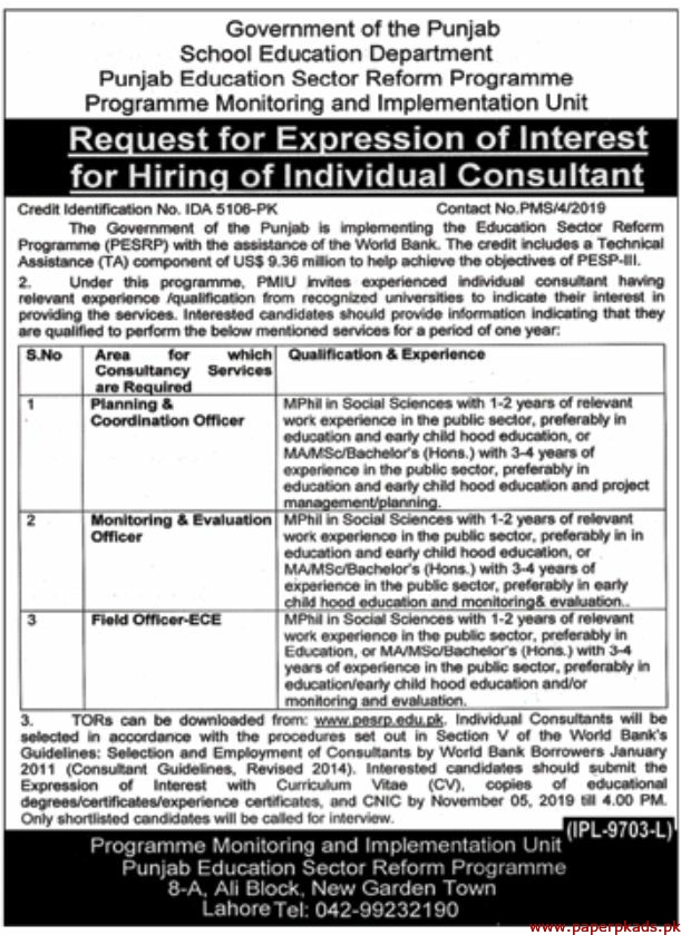 Government of the Punjab School Education Department Jobs 2019 Latest