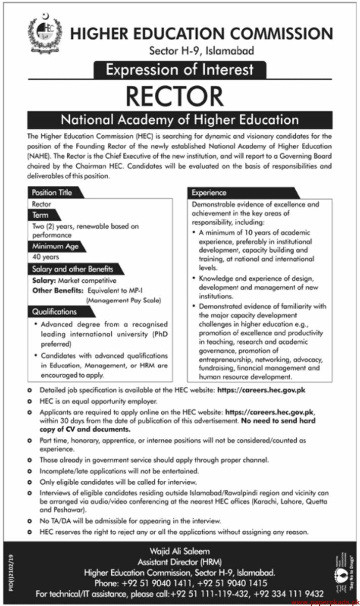 HEC Higher Education Commission Jobs 2019 Latest