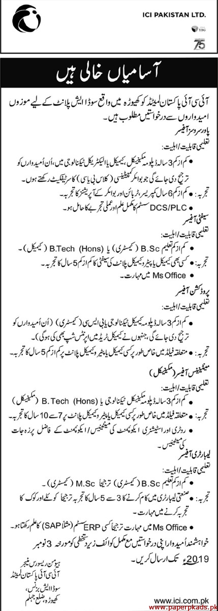 ICI Pakistan Ltd Jobs 2019 Latest