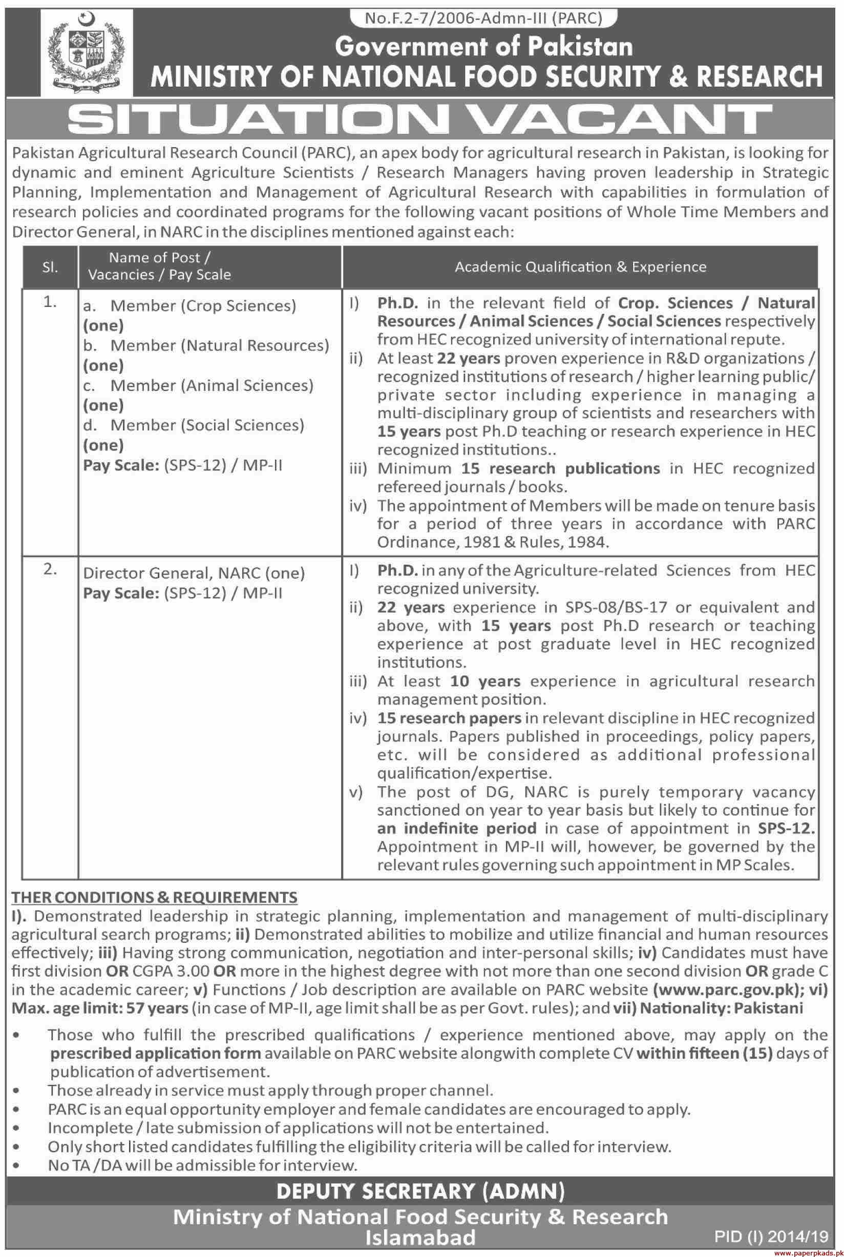Ministry of National Food Security & Research Jobs 2019 Latest