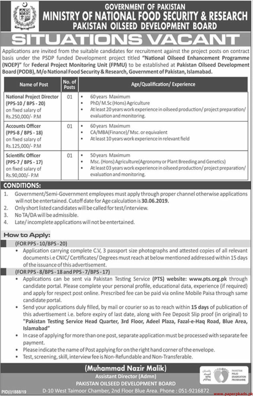 Ministry of National Food Security & Research Pakistan OilSeed Development Board Jobs 2019 Latest
