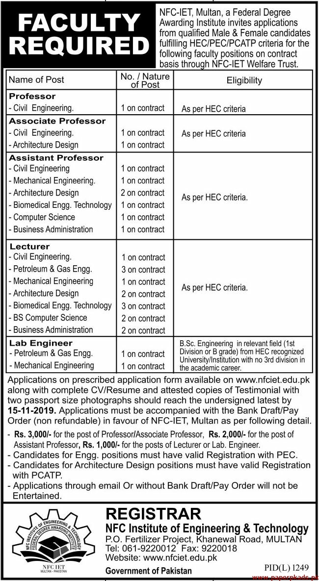 NFC Institute of Engineering & Technology Jobs 2019 Latest